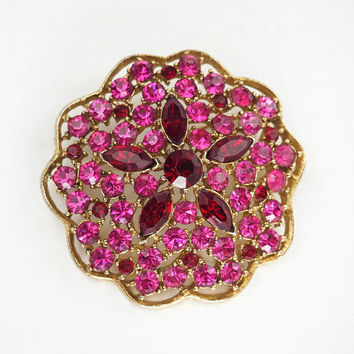 Vintage Pink and Red Rhinestone Brooch LARGE