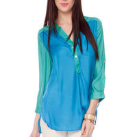 Contrast Color Blouse in Sky Blue :: tobi