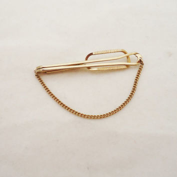 Vintage Stratton Imitation Gold Tone Tie Pin, Stratton Imitation Tie Clip, Tie Pin with Safety Chain, UK Seller