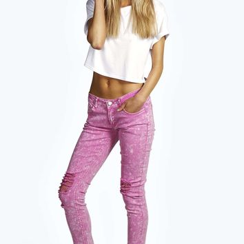 Evie Low Rise Ripped Knee Skinny Jeans