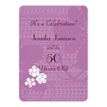 50 Years Old Purple Floral Birthday Party Invite