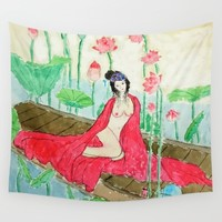 Nude Ancient Chinese Lady Wall Tapestry by Color And Color