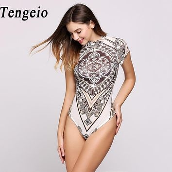 Tengeio Bodysuit Women Short Sleeve Overalls Print Fitness Jumpsuit Body Suits For Women Romper Short Femme Leotard Swimsuit 650
