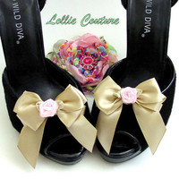 Sexy Sweet Satin Bow Shoe Clips in custom colors by lolliecouture