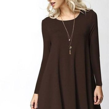 Girl Boss Swing Dress - Brown