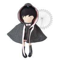 Hooded Girl Doll Cape Hooded Coat Reversable Gray Wool to Pink White Polka Dotted Cotton Overcoat - Fit My 12 inch Fashion Dolls