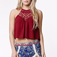 LA Hearts Crochet Bib Goddess Neck Cropped Tank Top - Womens Shirts