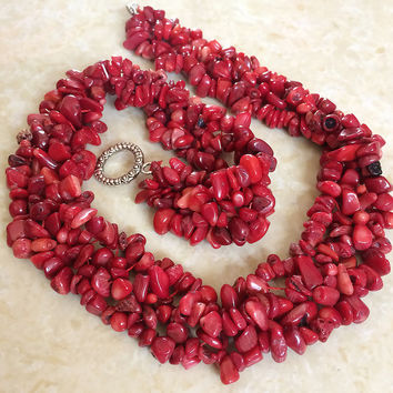 "Fashion red coral Irregular gravel 3x5mm beautiful stone diy Natural necklace making 18"" B522"