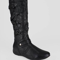 strappy leatherette hidden wedge boot