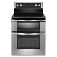 Whirlpool 6.7 cu. ft. Double Oven Electric Range with Self-Cleaning Oven in Stainless Steel-WGE555S0BS at The Home Depot