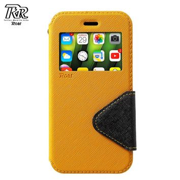 ROAR KOREA for iPhone X Case View Window Flip PU Leather Stand Mobile Phone Shell Coque Ayfon X