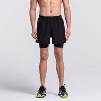 Mens 2 in 1 Running Shorts workout GYM fitness Basketball Football Sports Training Shorts with Back Zip Pocket