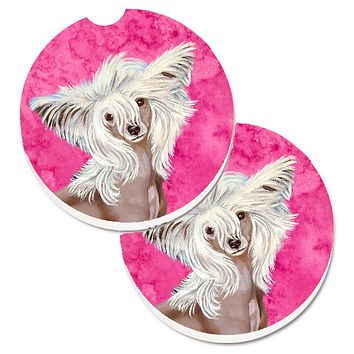 Pink Chinese Crested Set of 2 Cup Holder Car Coasters LH9392PKCARC