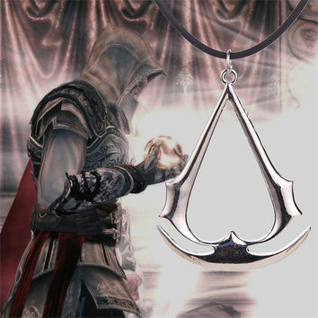 Assassin's Creed Pendant Necklaces Gold Silver Plated Leather Chain Necklace