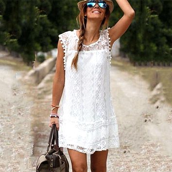 STYLEDOME Sexy Women Casual Sleeveless Beach Short Dress Tassel Solid White Mini Lace Dress Plus Size