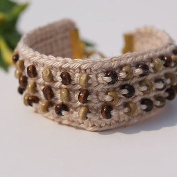 Neutral Ecru Crochet Wrist Cuff - Bracelet with Brown and Beige Wooden Beads.