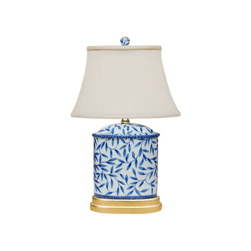 """Blue and White Bamboo Floral Porcelain Oval Vase Table Lamp 19.5"""""""