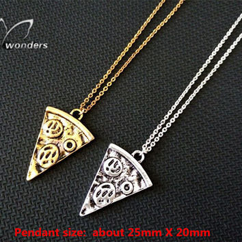 Fashion Pizza food Pendant Necklace 18k gold /silver  plated tiny jewelry for women/girl gift
