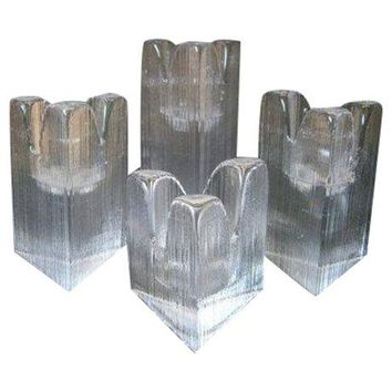 Pre-owned Kosta Boda Skyline Glass Candle Holders - Set of 4