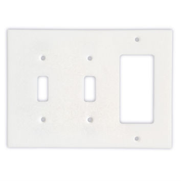 Thassos White Marble Double Toggle Rocker Switch Wall Plate / Switch Plate / Cover - Honed