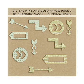 Commercial Use, Mint and Gold Arrows Clipart Set, Digital Scrapbook Elements, Scrapbooking Shapes, Design Graphics, Wedding Clipart (2)