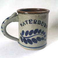 Waterbury Salt Glazed Pottery Coffee Mug Cup Harvey Artist Signed Numbered 5/87