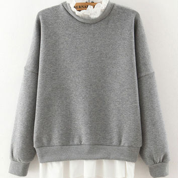 Long Sleeve Back Zipper Knitted Sweater with White Trim