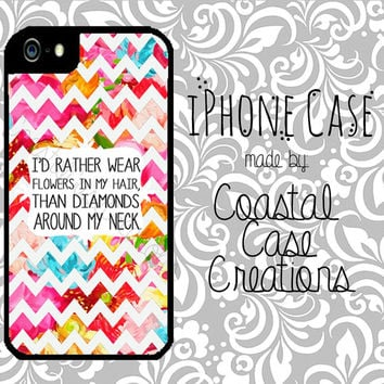 Colorful Floral Chevron Flowers and Diamonds Quote Apple iPhone 4 4G 4S 5G Hard Plastic Cell Phone Case Cover Original Trendy Stylish Design