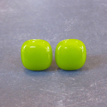 Lime Green Earrings, Neon Green Post Earrings, Hypoallergenic Earing, Jewelry - Laurie - 1879 -3