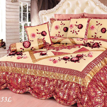 Tache 6 Piece Red Rose Garden Patchwork Luxury Floral Comforter Set