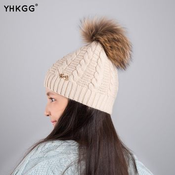 2017YHKGG Fashion Children Winter Raccoon Fox Fur Hat For Girls Boys Real Fur pompoms Ball Beanies Cap Crochet Kids Knitted Hats