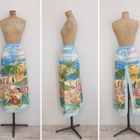 1970s Skirt - Vintage 70s Novelty Print Cotton Skirt - Exótica Skirt