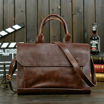 men s leather briefcase laptop bag crossbody shoulder handbag 2