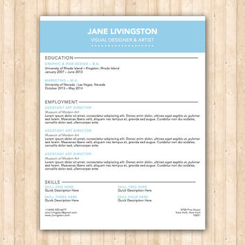 Livingston Resume Template - Helping You Save Time & Get The Dream Job You Deserve - Instant Download - DocX and Doc Format