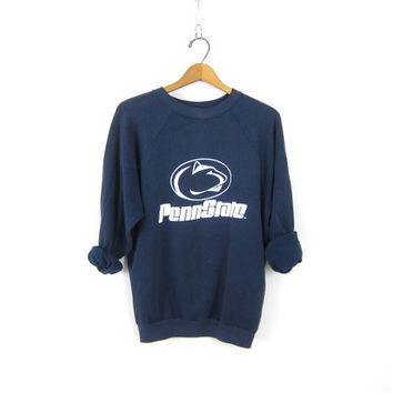 Faded Penn State Vintage 90s sports sweatshirt Athletic school navy blue cotton Pennsylvania School raglan sweater COED size Medium Large