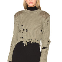 YEEZY Season 3 Destroyed Cropped Patch Sweater in Forest | REVOLVE