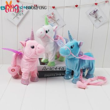 Cute Walking Singing Unicorn Plush Toys Electric Stuffed Animal Pony Toy Electronic Music Unicorn Toys For Children Gift 35cm