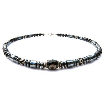 DZI Evil Eye Mens Chakra Necklace, Mens Protection Gemstone Beaded Necklaces, Crystal Healing Jewelry - Jewels for Gents
