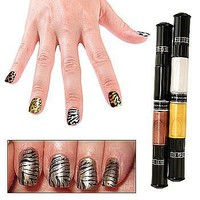 Migi Nail Polish Art Pen-Brush Design (2 Pens)- 4 Safari Animal Print Colors