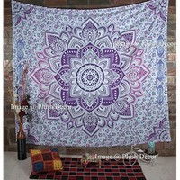 Plush Decor - Glorious Unique Color Shade Purple-pink Large Queen Mandala Tapestry (85x94 Inches) Ombre Psychedelic Tapestries Medallion Bohemian Wall Hanging
