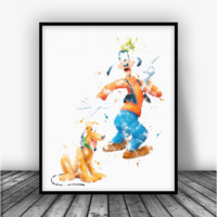 Goofy and Pluto Art Print Poster
