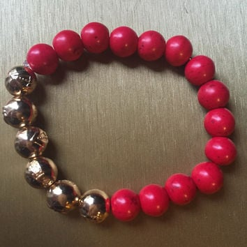 18k gold fire red agate