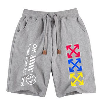 Off White Fashion New Letter Print Multicolor Arrow Print Women Men Sports Leisure Shorts Gray