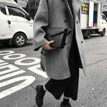 SuperAen Korean Style Women Woolen Coat Stand Collar Loose Fashion Wild Woolen Coat Double Breasted Casual Coat Winter New 2017