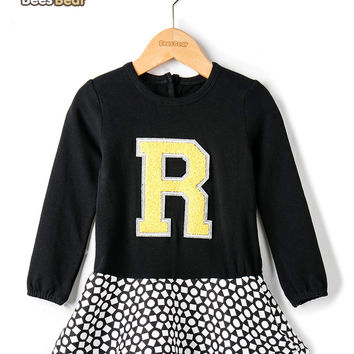 Letter R and Geometry Print Design Dress