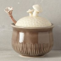 Sprouted Mushroom Sugar Pot by Anthropologie Neutral One Size Serveware