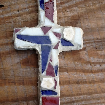 Stained Glass Mosaic Cross . Red White & Blue, Stars, Unique gift idea, Thank you gift, Birthday, Christmas, Soldier Gift, Graduation