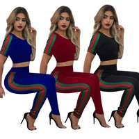 Women'S Casual Short-Sleeved Sports Two-Piece Trousers