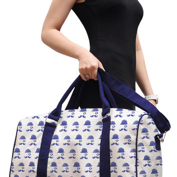 Mustache Men Pattern Printed Oversized Canvas Duffle Luggage Travel Bag WAS_42