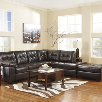 Ashley Furniture 20101-66-17 2 pc alliston collection chocolate bonded leather upholstered sectional sofa with chaise